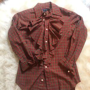 Ralph Lauren Ruffle Neck Button Down Shirt